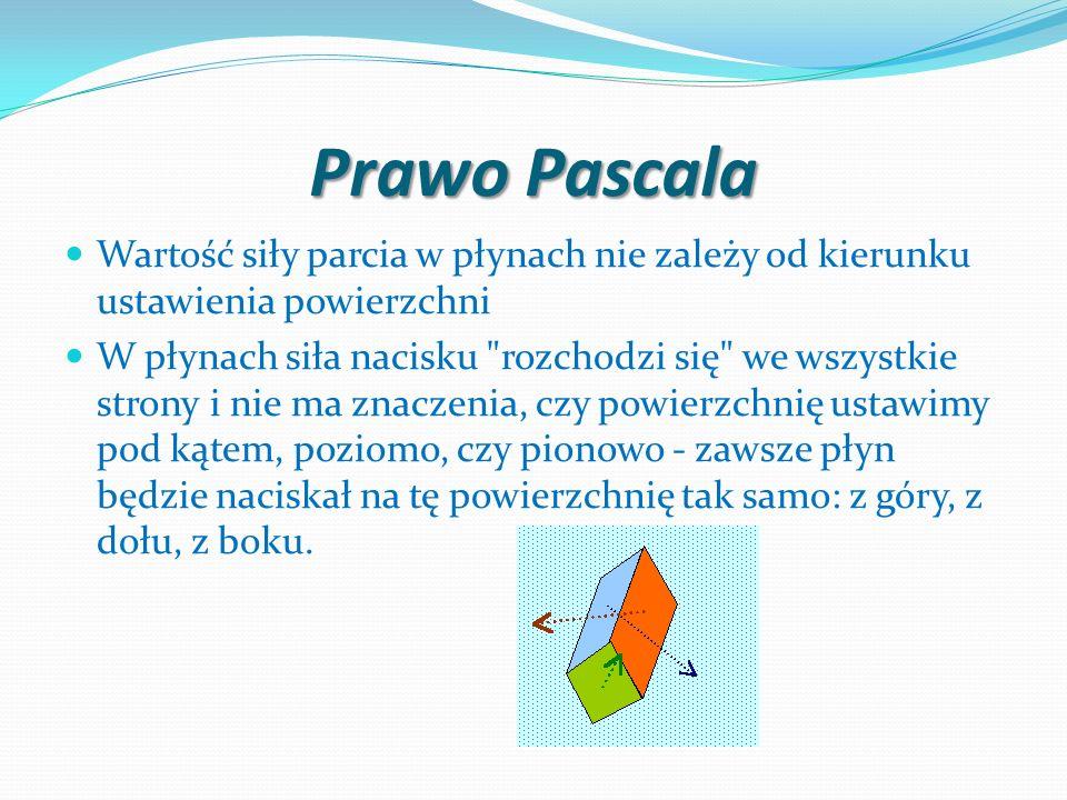 Prawo Pascala Wartość siły parcia w płynach nie zależy od kierunku ustawienia powierzchni W płynach siła nacisku