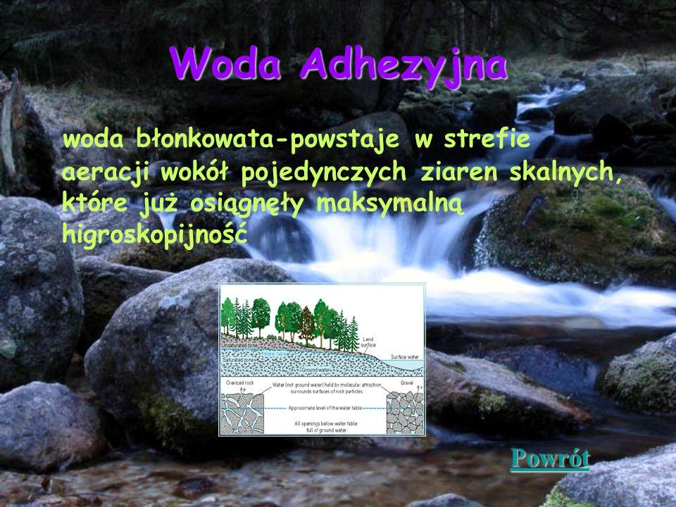 Woda Adhezyjna woda błonkowata-powstaje w strefie aeracji wokół pojedynczych ziaren skalnych, które już osiągnęły maksymalną higroskopijność Powrót