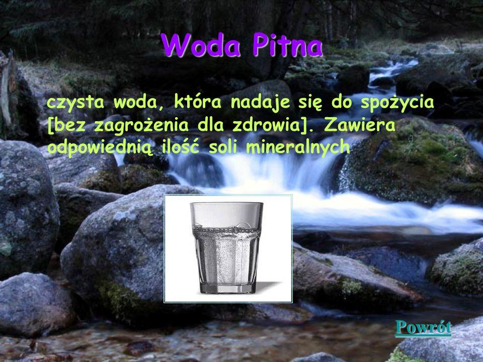 Woda Pitna czysta woda, która nadaje się do spożycia [bez zagrożenia dla zdrowia]. Zawiera odpowiednią ilość soli mineralnych Powrót