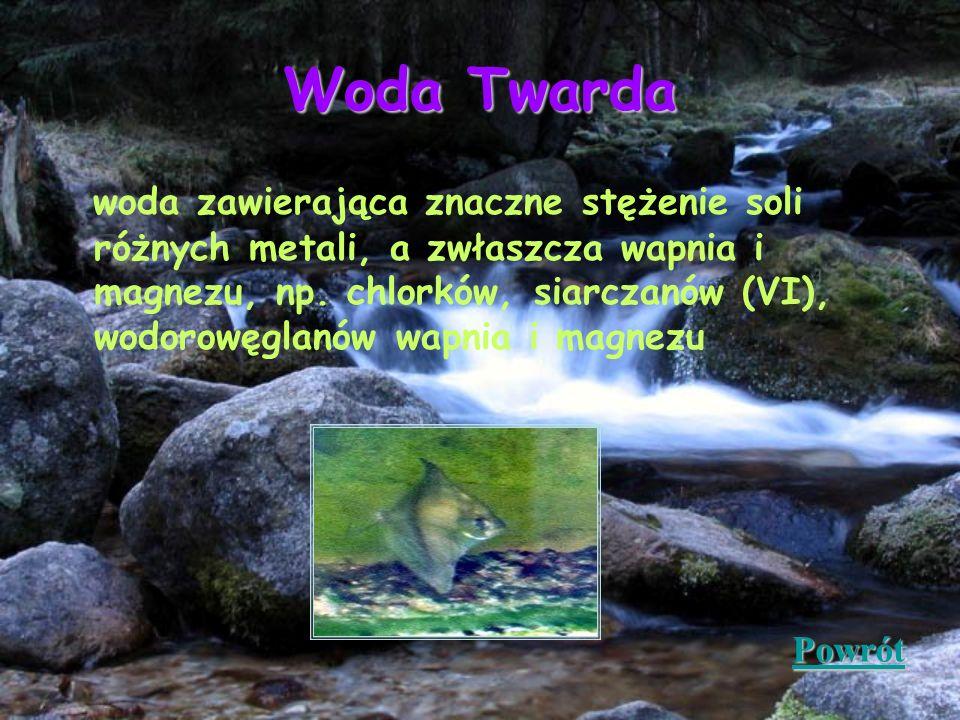 Woda Twarda woda zawierająca znaczne stężenie soli różnych metali, a zwłaszcza wapnia i magnezu, np. chlorków, siarczanów (VI), wodorowęglanów wapnia