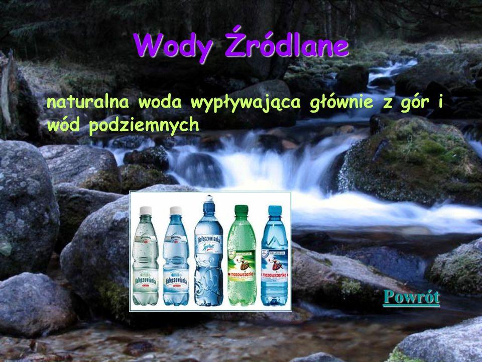 Wody Źródlane naturalna woda wypływająca głównie z gór i wód podziemnych Powrót
