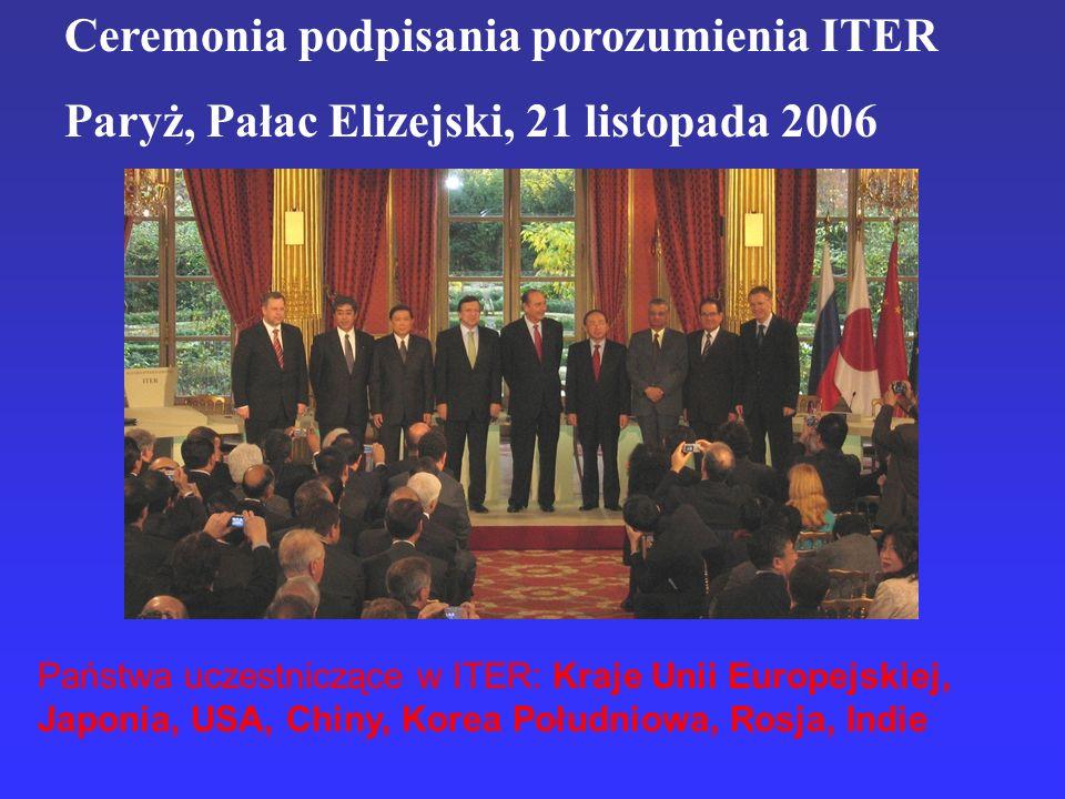 Ceremonia podpisania porozumienia ITER Paryż, Pałac Elizejski, 21 listopada 2006 Państwa uczestniczące w ITER: Kraje Unii Europejskiej, Japonia, USA,
