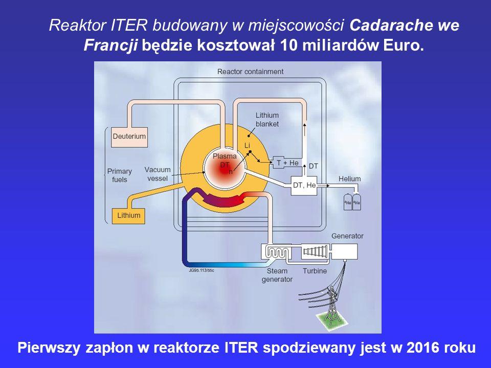 Reaktor ITER budowany w miejscowości Cadarache we Francji będzie kosztował 10 miliardów Euro. Pierwszy zapłon w reaktorze ITER spodziewany jest w 2016