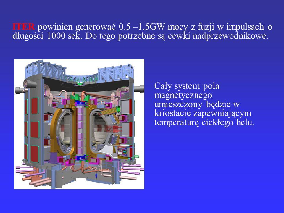 Cały system pola magnetycznego umieszczony będzie w kriostacie zapewniającym temperaturę ciekłego helu. ITER powinien generować 0.5 –1.5GW mocy z fuzj
