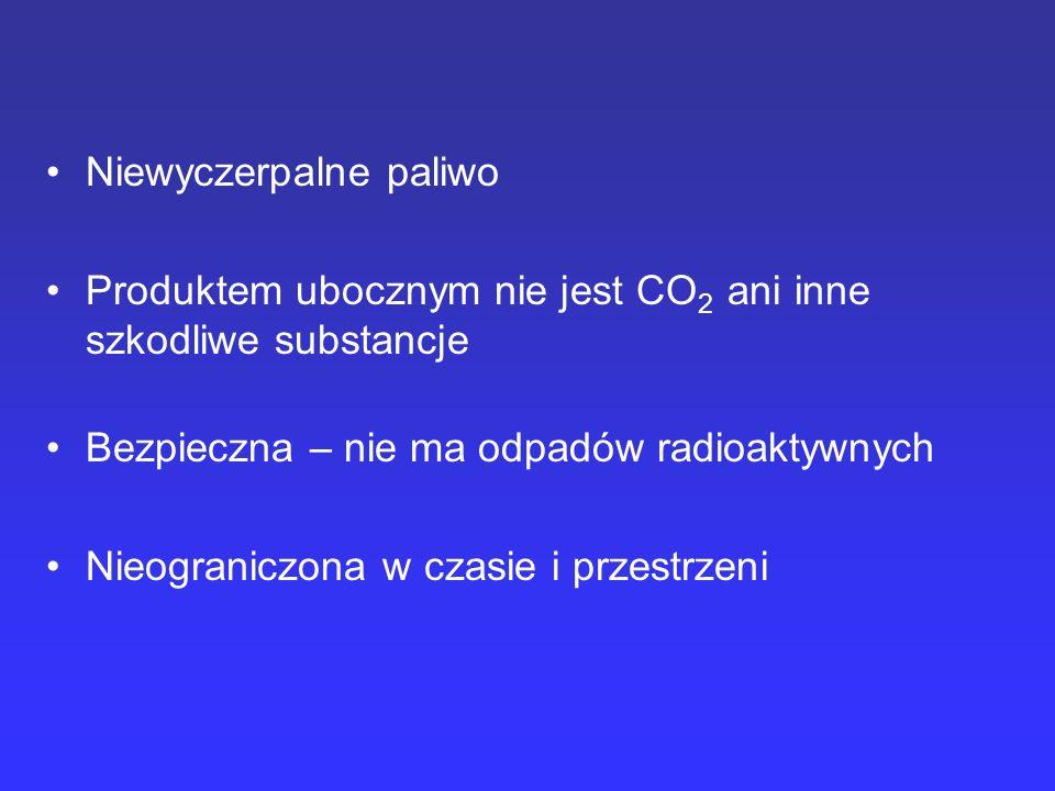 Niewyczerpalne paliwo Produktem ubocznym nie jest CO 2 ani inne szkodliwe substancje Bezpieczna – nie ma odpadów radioaktywnych Nieograniczona w czasi
