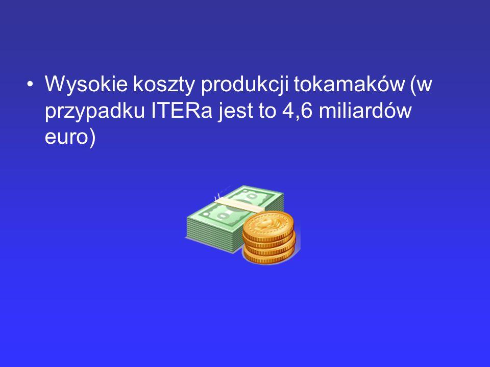 Wysokie koszty produkcji tokamaków (w przypadku ITERa jest to 4,6 miliardów euro)