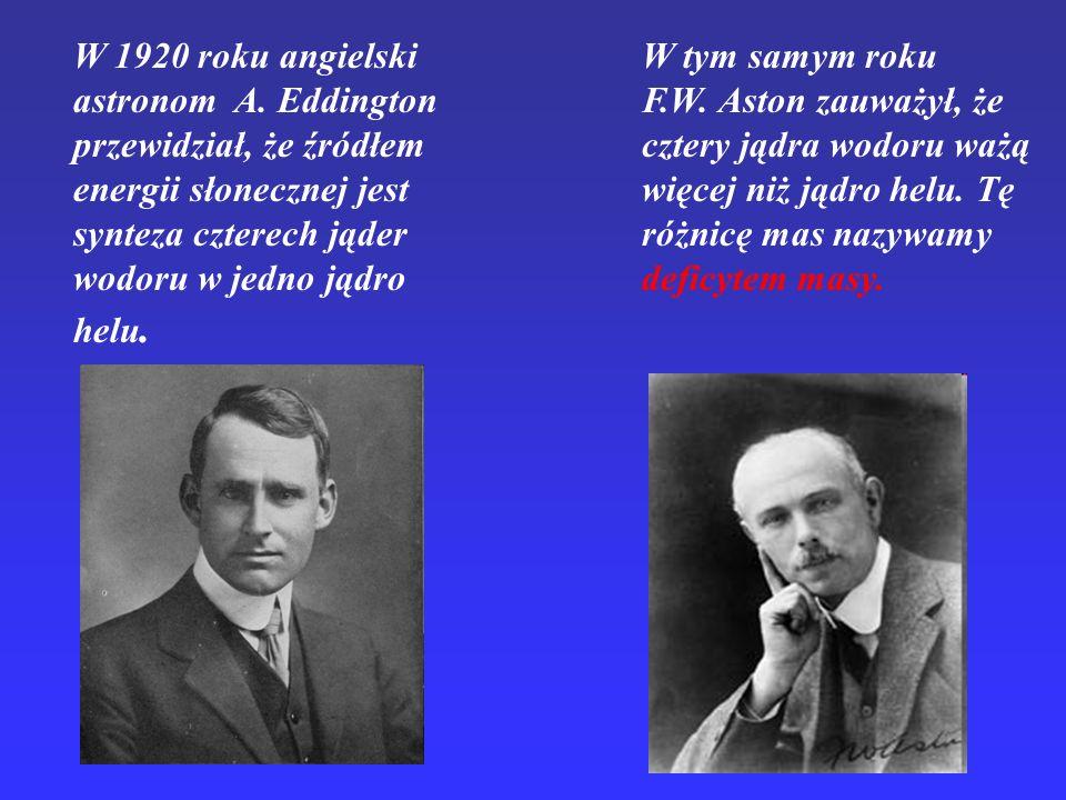 W 1920 roku angielski astronom A. Eddington przewidział, że źródłem energii słonecznej jest synteza czterech jąder wodoru w jedno jądro helu. W tym sa
