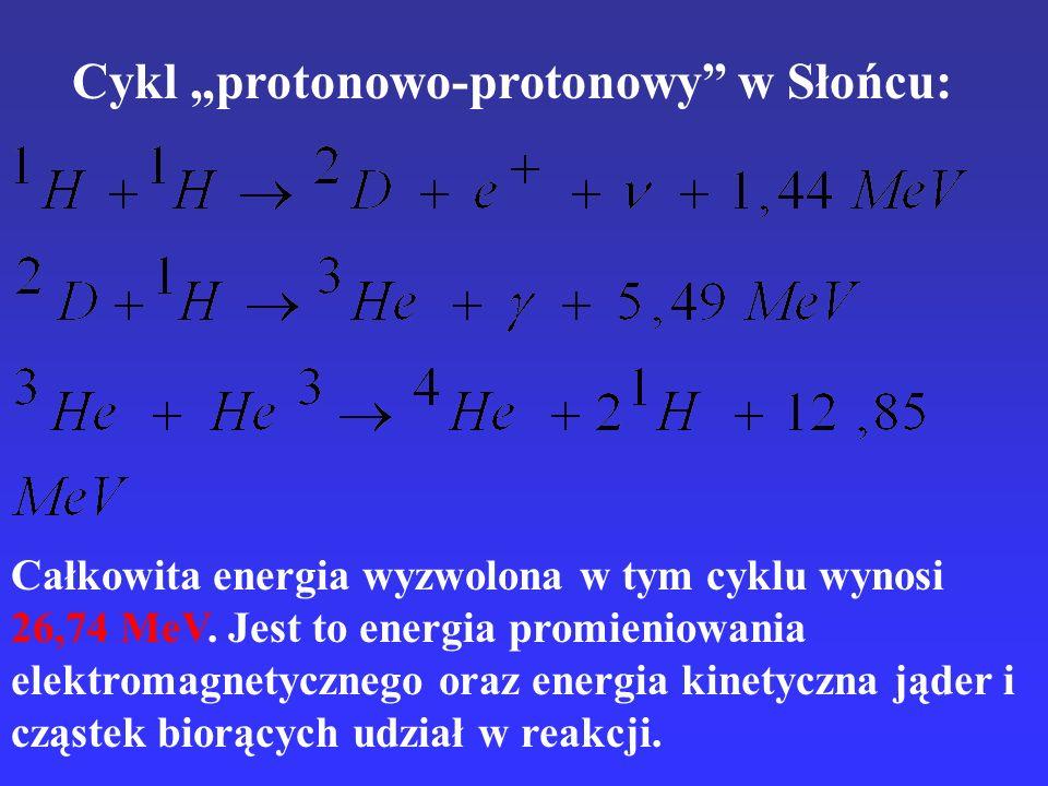 Cykl protonowo-protonowy w Słońcu: Całkowita energia wyzwolona w tym cyklu wynosi 26,74 MeV. Jest to energia promieniowania elektromagnetycznego oraz