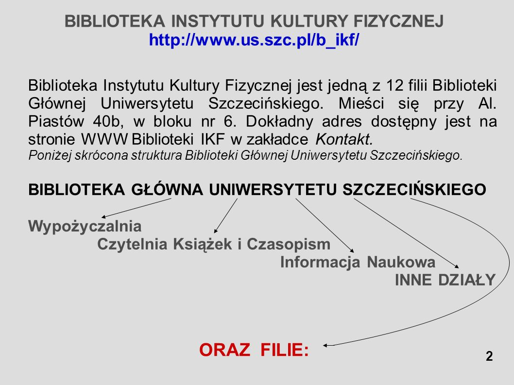 BIBLIOTEKA INSTYTUTU KULTURY FIZYCZNEJ http://www.us.szc.pl/b_ikf/ Biblioteka Instytutu Kultury Fizycznej jest jedną z 12 filii Biblioteki Głównej Uni