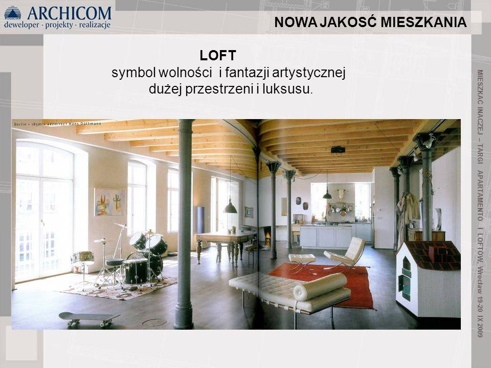5 LOFT zaanektowane przez angielszczyznę słowo loft pochodzące z języka islandzkiego, tłumaczone na polski znaczy tyle co powietrze, piętro, przestrzeń, aczkolwiek w języku angielskim oznacza poddasze, strych MIESZKAĆ INACZEJ – TARGI APARTAMENTÓ I LOFTÓW, Wrocław 19-20 IX 2009 NOWA JAKOSĆ MIESZKANIA
