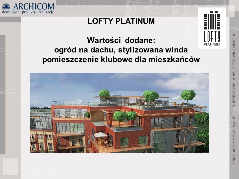 45 MIESZKAĆ INACZEJ – TARGI APARTAMENTÓ I LOFTÓW, Wrocław 19-20 IX 2009 LOFTY PLATINUM Wartości dodane: ogród na dachu, stylizowana winda pomieszczeni