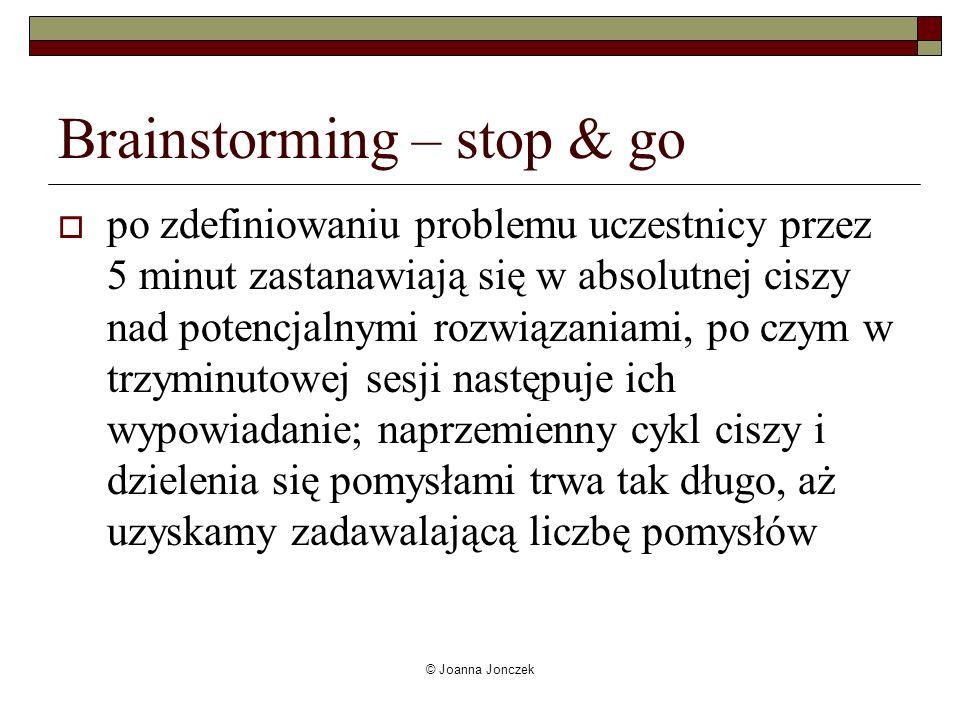 © Joanna Jonczek Brainstorming – stop & go po zdefiniowaniu problemu uczestnicy przez 5 minut zastanawiają się w absolutnej ciszy nad potencjalnymi ro