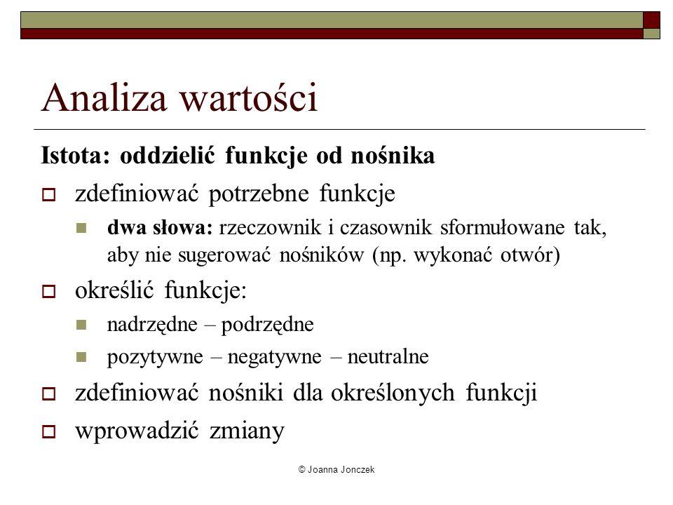 © Joanna Jonczek Analiza wartości Istota: oddzielić funkcje od nośnika zdefiniować potrzebne funkcje dwa słowa: rzeczownik i czasownik sformułowane ta