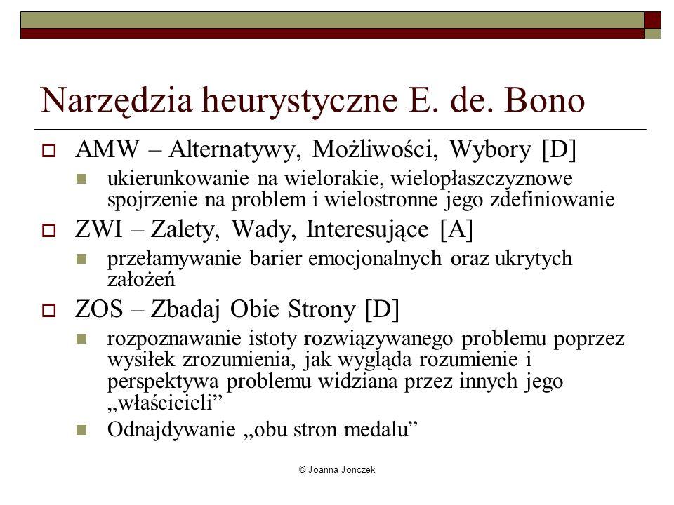 © Joanna Jonczek Narzędzia heurystyczne E. de. Bono AMW – Alternatywy, Możliwości, Wybory [D] ukierunkowanie na wielorakie, wielopłaszczyznowe spojrze