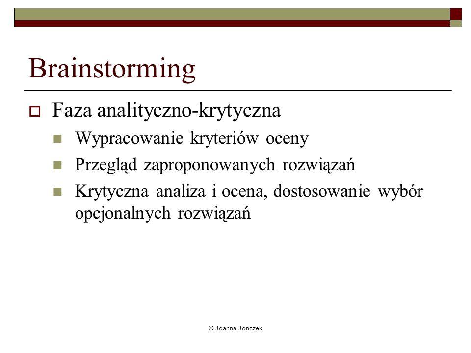 © Joanna Jonczek Brainstorming Faza analityczno-krytyczna Wypracowanie kryteriów oceny Przegląd zaproponowanych rozwiązań Krytyczna analiza i ocena, d