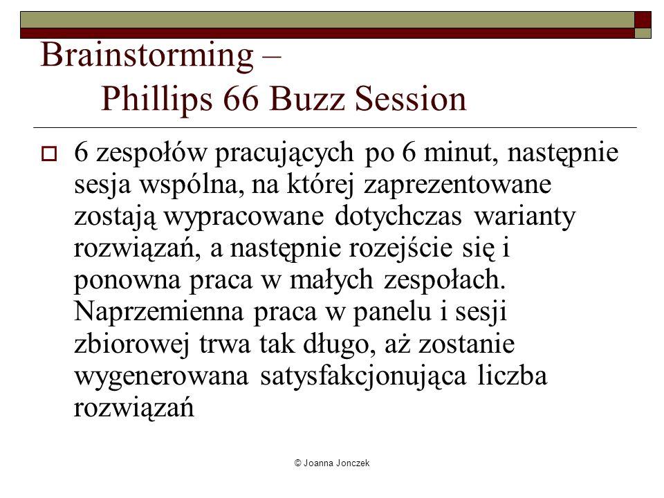© Joanna Jonczek Brainstorming – Phillips 66 Buzz Session 6 zespołów pracujących po 6 minut, następnie sesja wspólna, na której zaprezentowane zostają