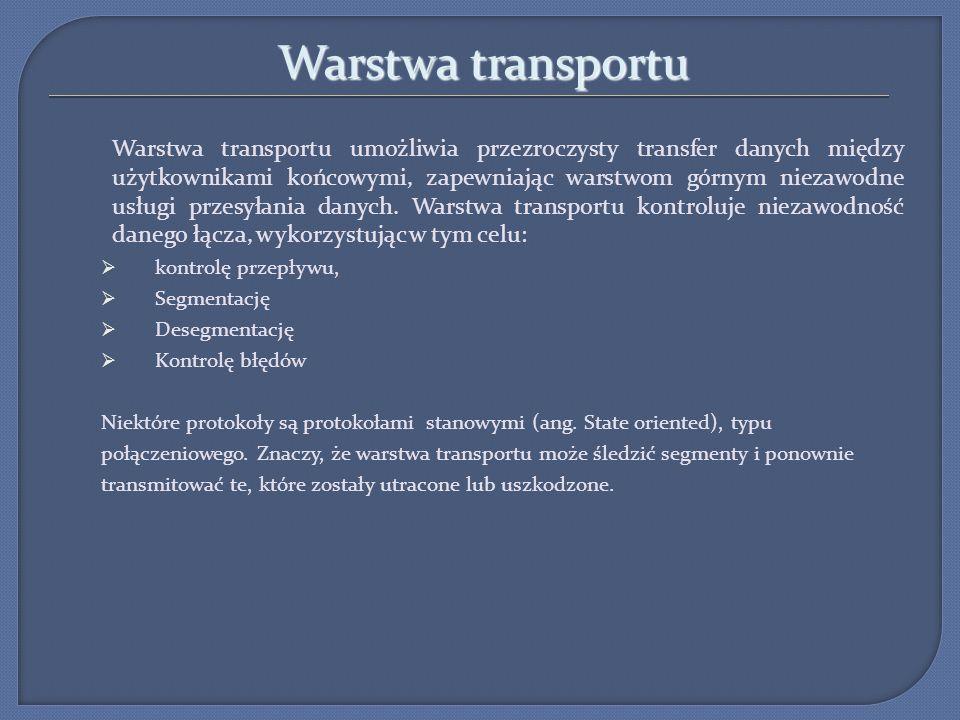 Warstwa transportu Warstwa transportu umożliwia przezroczysty transfer danych między użytkownikami końcowymi, zapewniając warstwom górnym niezawodne u