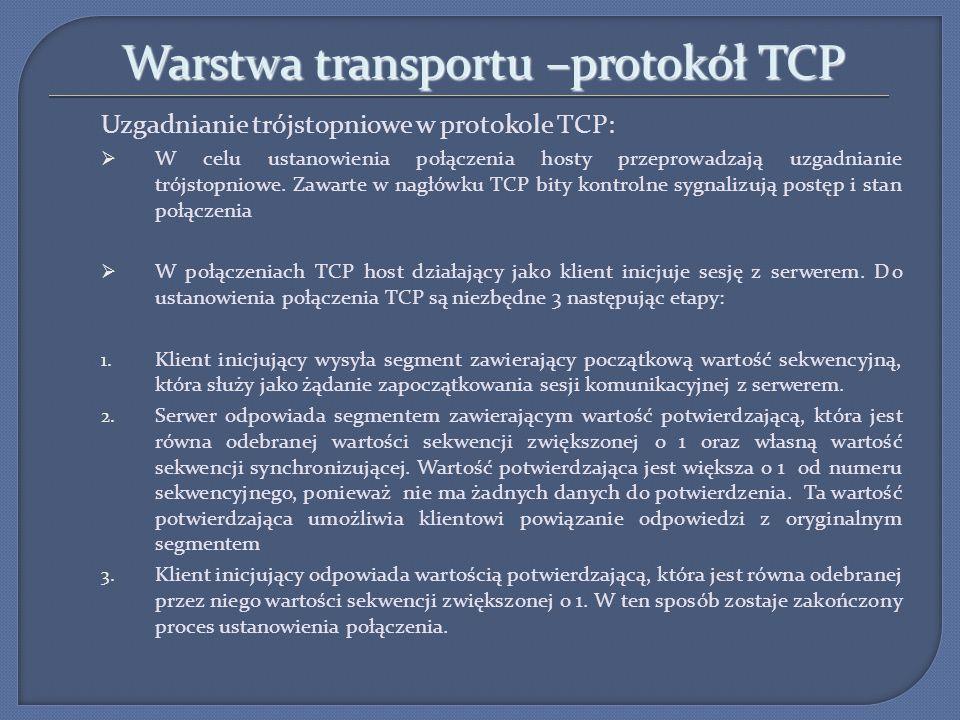 Warstwa transportu –protokół TCP Uzgadnianie trójstopniowe w protokole TCP: W celu ustanowienia połączenia hosty przeprowadzają uzgadnianie trójstopni