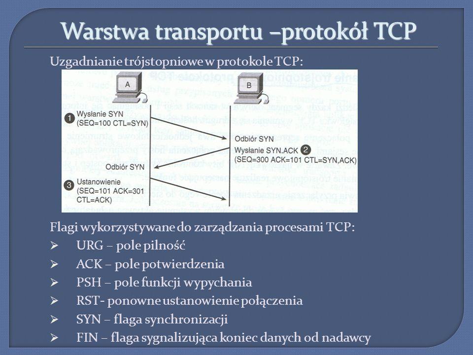 Warstwa transportu –protokół TCP Uzgadnianie trójstopniowe w protokole TCP: Flagi wykorzystywane do zarządzania procesami TCP: URG – pole pilność ACK