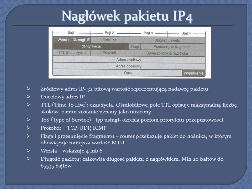 Nagłówek pakietu IP4 Źródłowy adres IP- 32 bitową wartość reprezentującą nadawcę pakietu Docelowy adres IP – TTL (Time To Live): czas życia. Ośmiobito