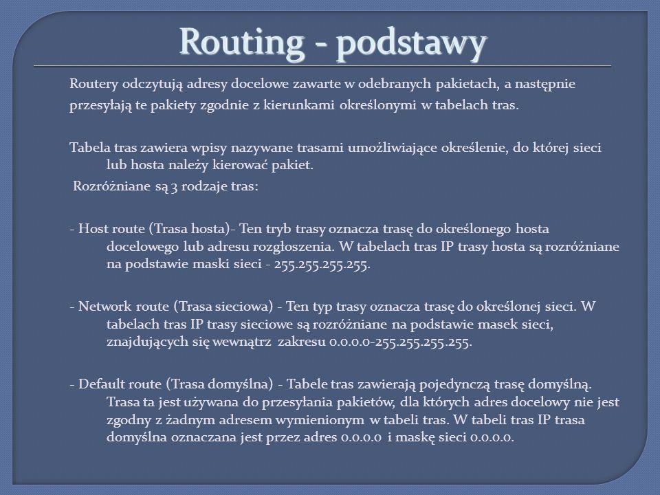 Routing - podstawy Routery odczytują adresy docelowe zawarte w odebranych pakietach, a następnie przesyłają te pakiety zgodnie z kierunkami określonym
