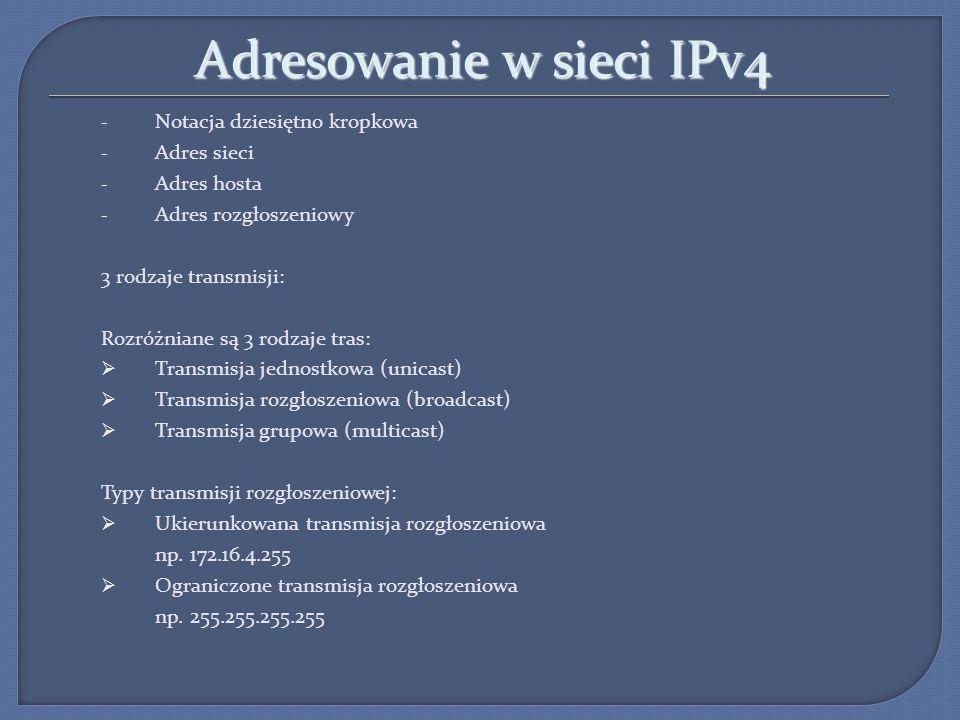 Adresowanie w sieci IPv4 - Notacja dziesiętno kropkowa - Adres sieci - Adres hosta - Adres rozgłoszeniowy 3 rodzaje transmisji: Rozróżniane są 3 rodza