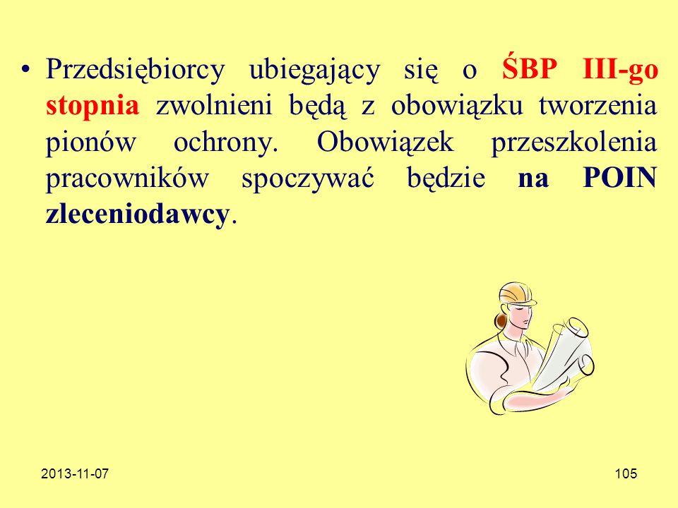 2013-11-07105 Przedsiębiorcy ubiegający się o ŚBP III-go stopnia zwolnieni będą z obowiązku tworzenia pionów ochrony. Obowiązek przeszkolenia pracowni