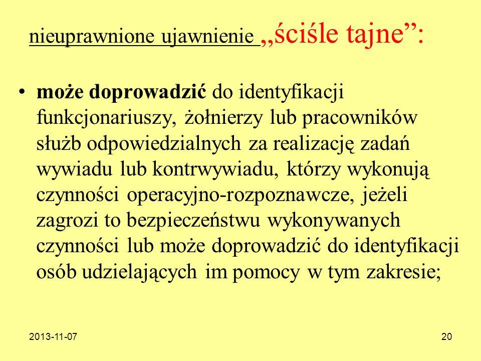 2013-11-0720 nieuprawnione ujawnienie ściśle tajne: może doprowadzić do identyfikacji funkcjonariuszy, żołnierzy lub pracowników służb odpowiedzialnyc