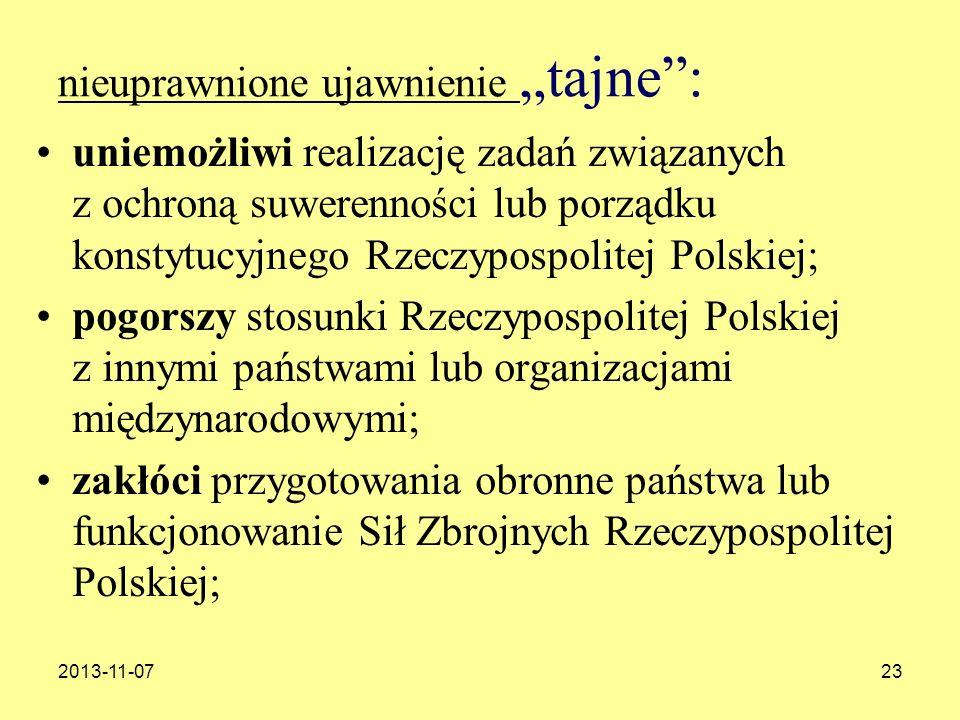 2013-11-0723 nieuprawnione ujawnienie tajne: uniemożliwi realizację zadań związanych z ochroną suwerenności lub porządku konstytucyjnego Rzeczypospoli