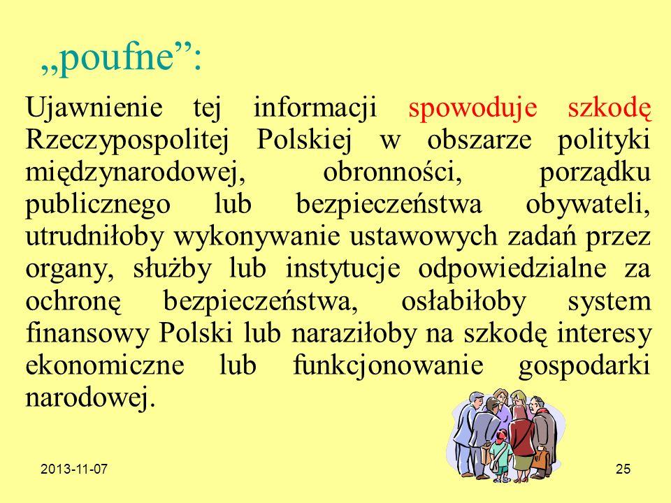 2013-11-0725 poufne: Ujawnienie tej informacji spowoduje szkodę Rzeczypospolitej Polskiej w obszarze polityki międzynarodowej, obronności, porządku pu