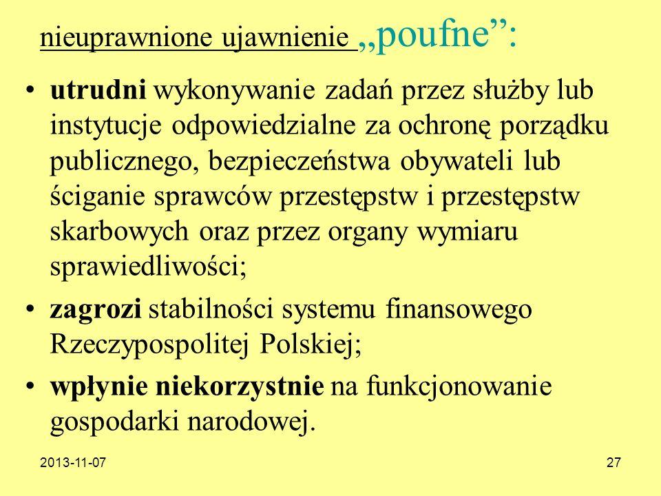 2013-11-0727 nieuprawnione ujawnienie poufne: utrudni wykonywanie zadań przez służby lub instytucje odpowiedzialne za ochronę porządku publicznego, be