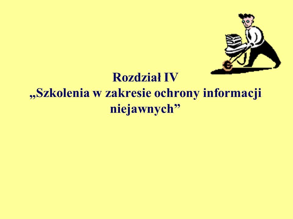 Rozdział IV Szkolenia w zakresie ochrony informacji niejawnych