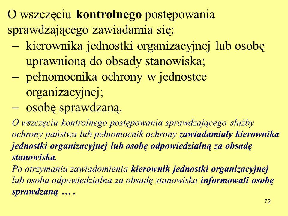 72 kierownika jednostki organizacyjnej lub osobę uprawnioną do obsady stanowiska; pełnomocnika ochrony w jednostce organizacyjnej; osobę sprawdzaną. O