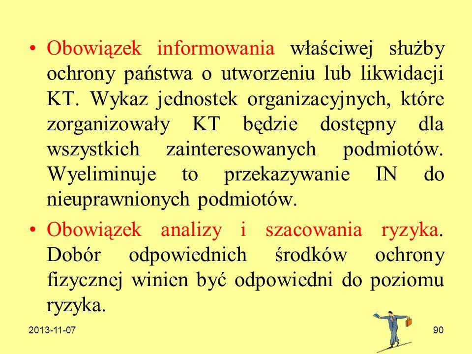 2013-11-0790 Obowiązek informowania właściwej służby ochrony państwa o utworzeniu lub likwidacji KT. Wykaz jednostek organizacyjnych, które zorganizow