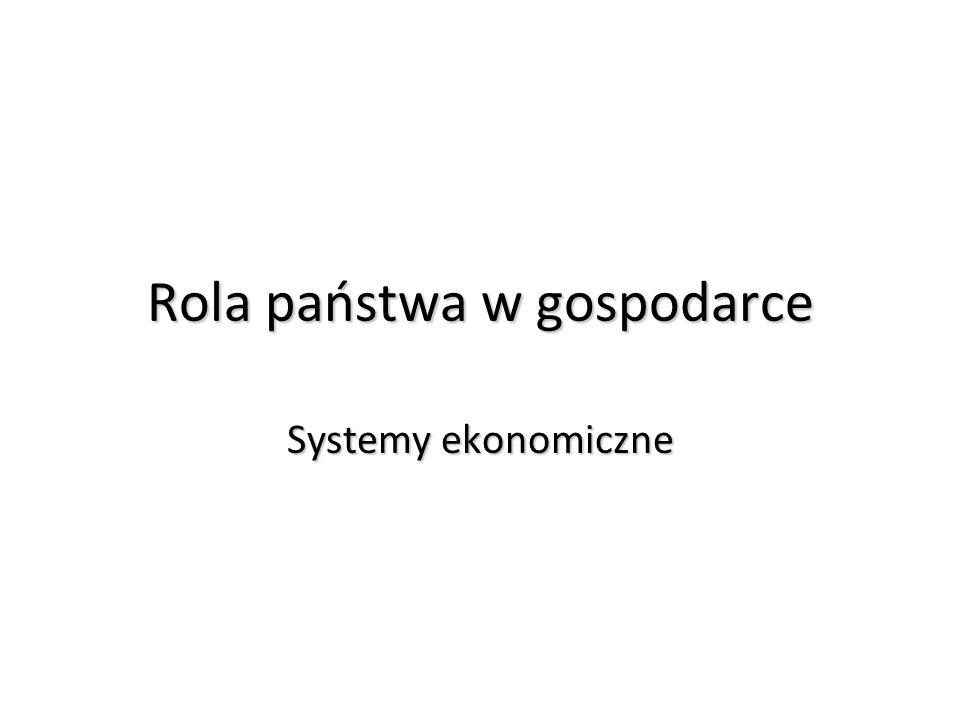 Rola państwa w gospodarce Systemy ekonomiczne