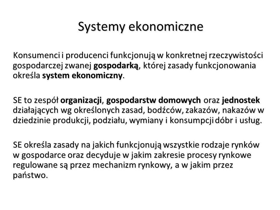 Systemy ekonomiczne Konsumenci i producenci funkcjonują w konkretnej rzeczywistości gospodarczej zwanej gospodarką, której zasady funkcjonowania określa system ekonomiczny.