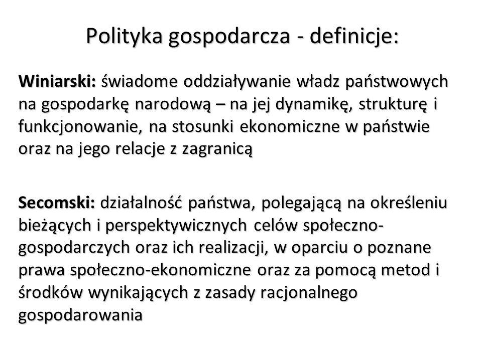 Polityka gospodarcza - definicje: Winiarski: świadome oddziaływanie władz państwowych na gospodarkę narodową – na jej dynamikę, strukturę i funkcjonowanie, na stosunki ekonomiczne w państwie oraz na jego relacje z zagranicą Secomski: działalność państwa, polegającą na określeniu bieżących i perspektywicznych celów społeczno- gospodarczych oraz ich realizacji, w oparciu o poznane prawa społeczno-ekonomiczne oraz za pomocą metod i środków wynikających z zasady racjonalnego gospodarowania