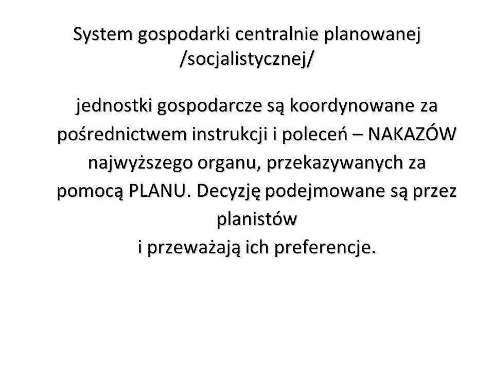 System gospodarki centralnie planowanej /socjalistycznej/ jednostki gospodarcze są koordynowane za pośrednictwem instrukcji i poleceń – NAKAZÓW najwyższego organu, przekazywanych za pomocą PLANU.