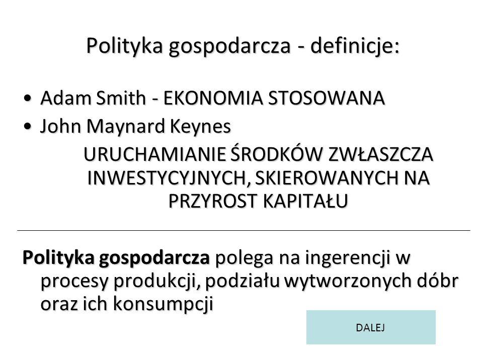 Polityka gospodarcza - definicje: Adam Smith - EKONOMIA STOSOWANAAdam Smith - EKONOMIA STOSOWANA John Maynard KeynesJohn Maynard Keynes URUCHAMIANIE ŚRODKÓW ZWŁASZCZA INWESTYCYJNYCH, SKIEROWANYCH NA PRZYROST KAPITAŁU Polityka gospodarcza polega na ingerencji w procesy produkcji, podziału wytworzonych dóbr oraz ich konsumpcji DALEJ