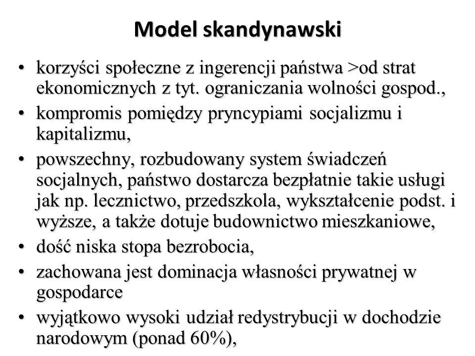 Model skandynawski korzyści społeczne z ingerencji państwa >od strat ekonomicznych z tyt.
