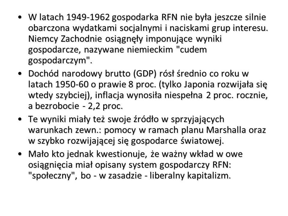 W latach 1949-1962 gospodarka RFN nie była jeszcze silnie obarczona wydatkami socjalnymi i naciskami grup interesu.