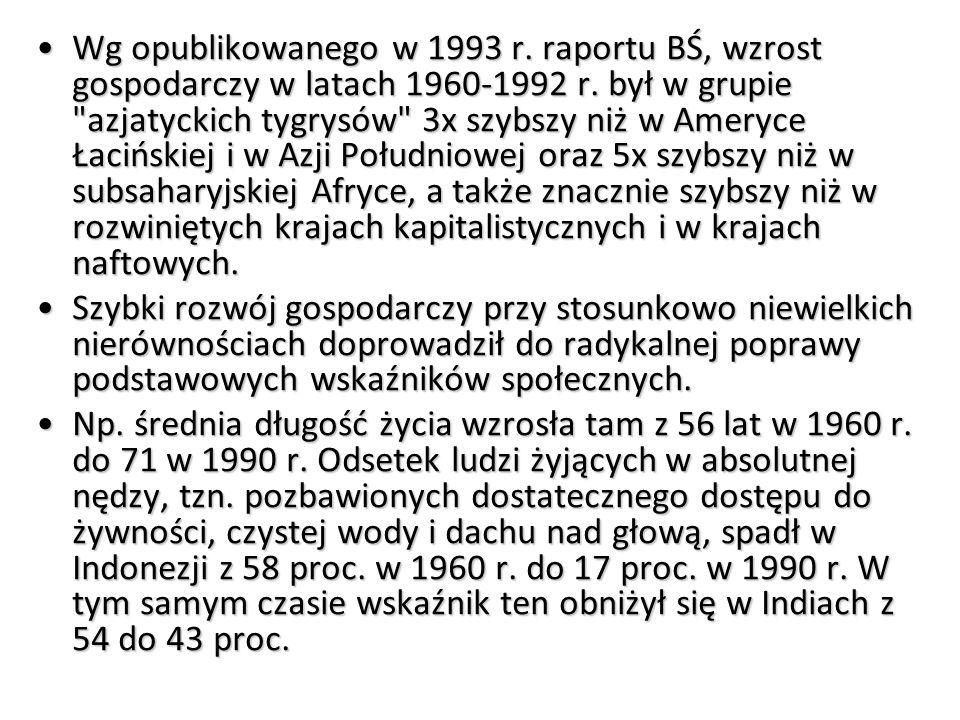 Wg opublikowanego w 1993 r.raportu BŚ, wzrost gospodarczy w latach 1960-1992 r.