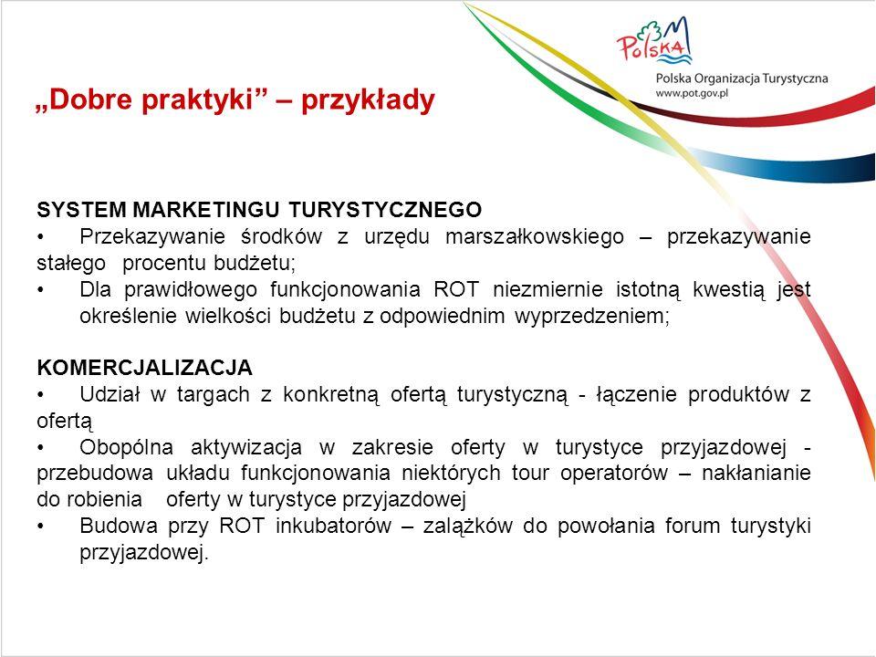 SYSTEM MARKETINGU TURYSTYCZNEGO Przekazywanie środków z urzędu marszałkowskiego – przekazywanie stałego procentu budżetu; Dla prawidłowego funkcjonowa