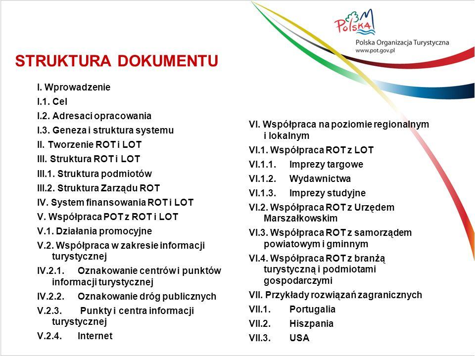 I. Wprowadzenie I.1. Cel I.2. Adresaci opracowania I.3. Geneza i struktura systemu II. Tworzenie ROT i LOT III. Struktura ROT i LOT III.1. Struktura p