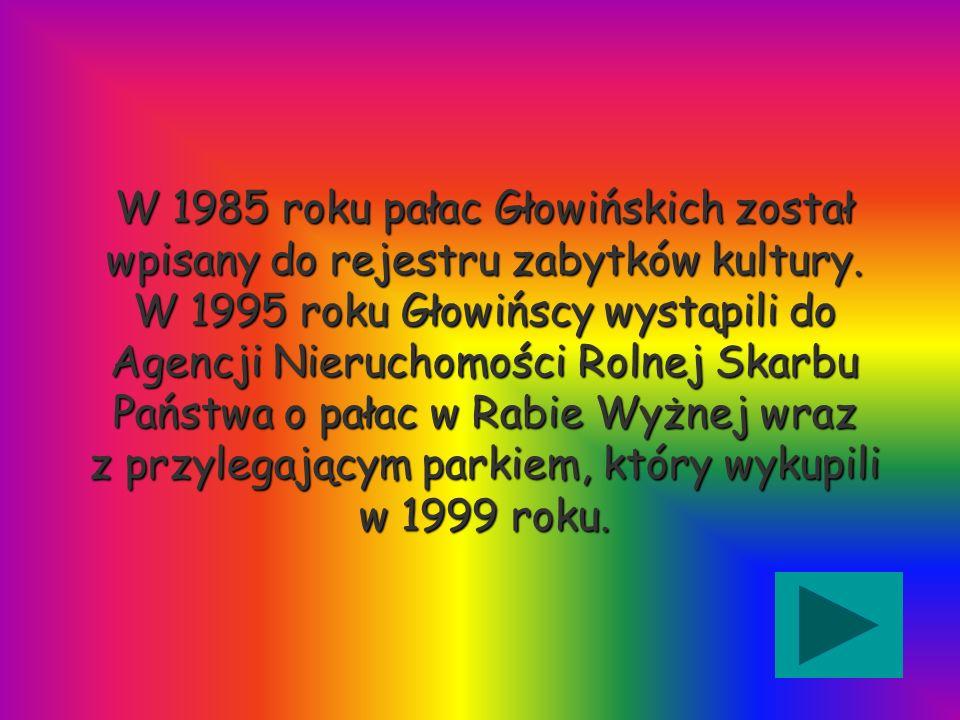 W 1985 roku pałac Głowińskich został wpisany do rejestru zabytków kultury. W 1995 roku Głowińscy wystąpili do Agencji Nieruchomości Rolnej Skarbu Pańs