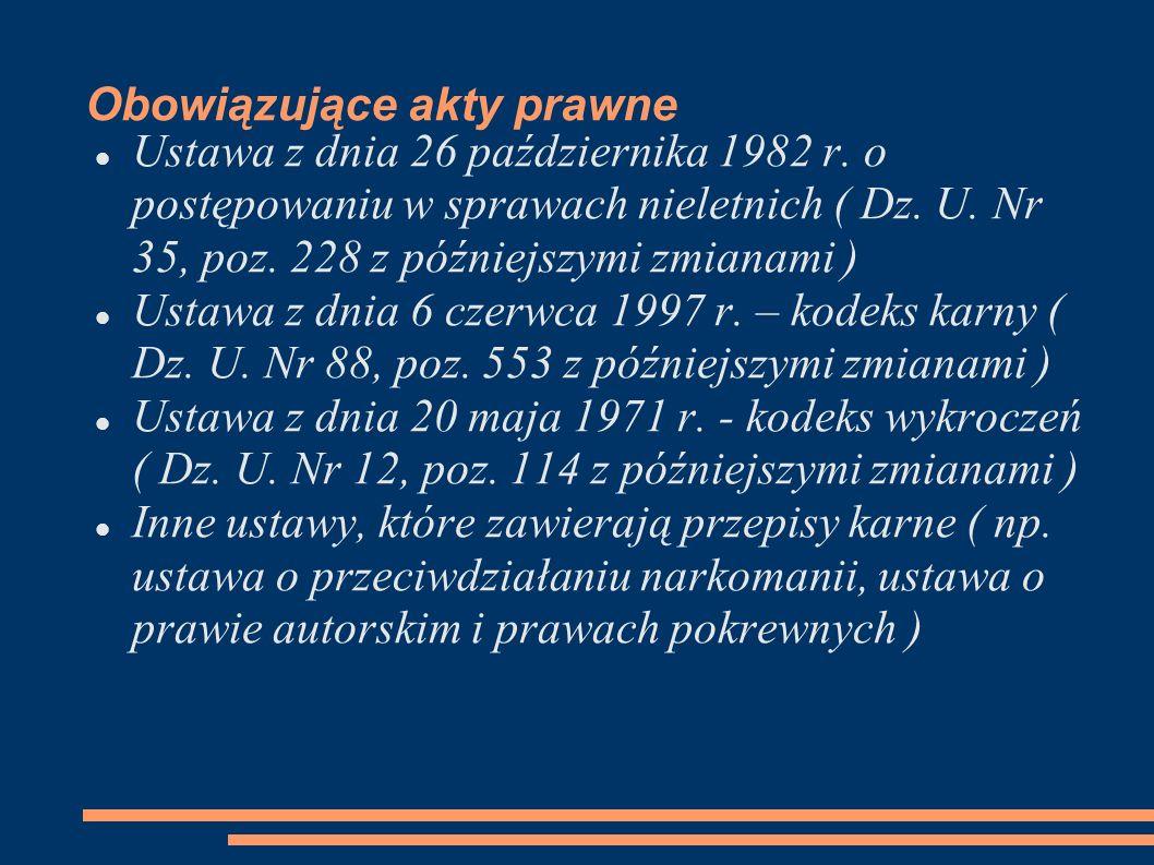 Obowiązujące akty prawne Ustawa z dnia 26 października 1982 r. o postępowaniu w sprawach nieletnich ( Dz. U. Nr 35, poz. 228 z późniejszymi zmianami )