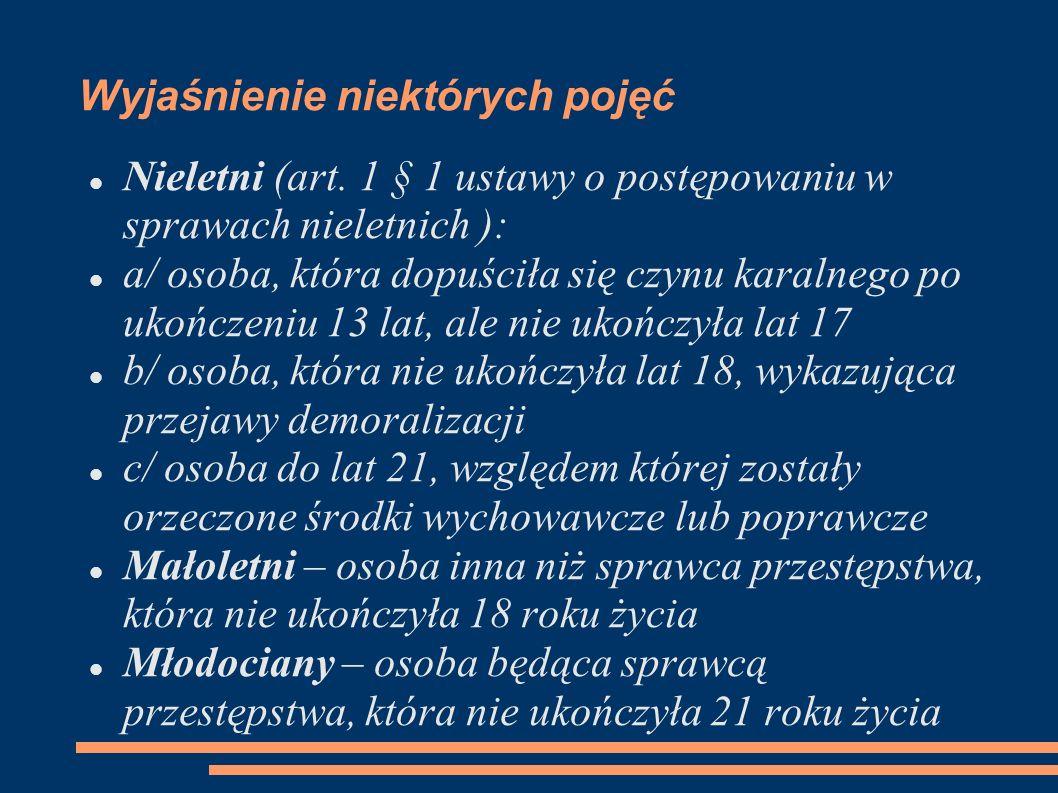Wyjaśnienie niektórych pojęć Nieletni (art. 1 § 1 ustawy o postępowaniu w sprawach nieletnich ): a/ osoba, która dopuściła się czynu karalnego po ukoń