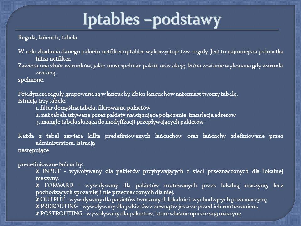Iptables –podstawy Reguła, łańcuch, tabela W celu zbadania danego pakietu netfilter/iptables wykorzystuje tzw. reguły. Jest to najmniejsza jednostka f