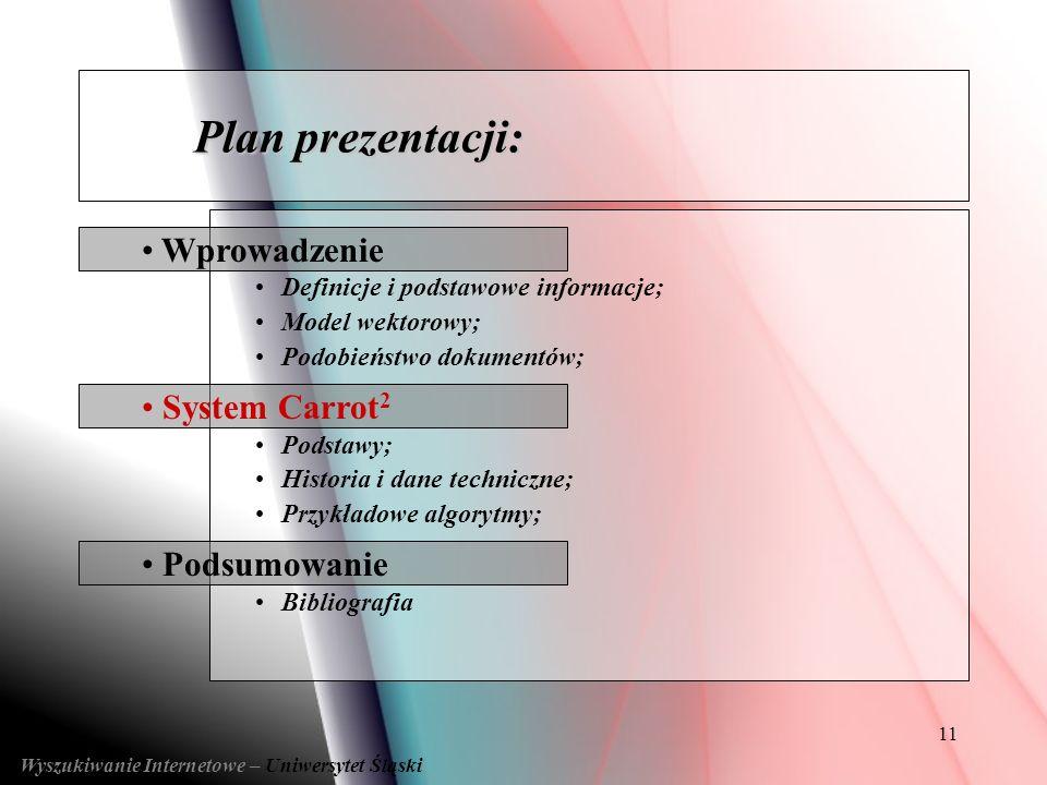 11 Podsumowanie System Carrot 2 Wprowadzenie Definicje i podstawowe informacje; Model wektorowy; Podobieństwo dokumentów; Podstawy; Historia i dane te
