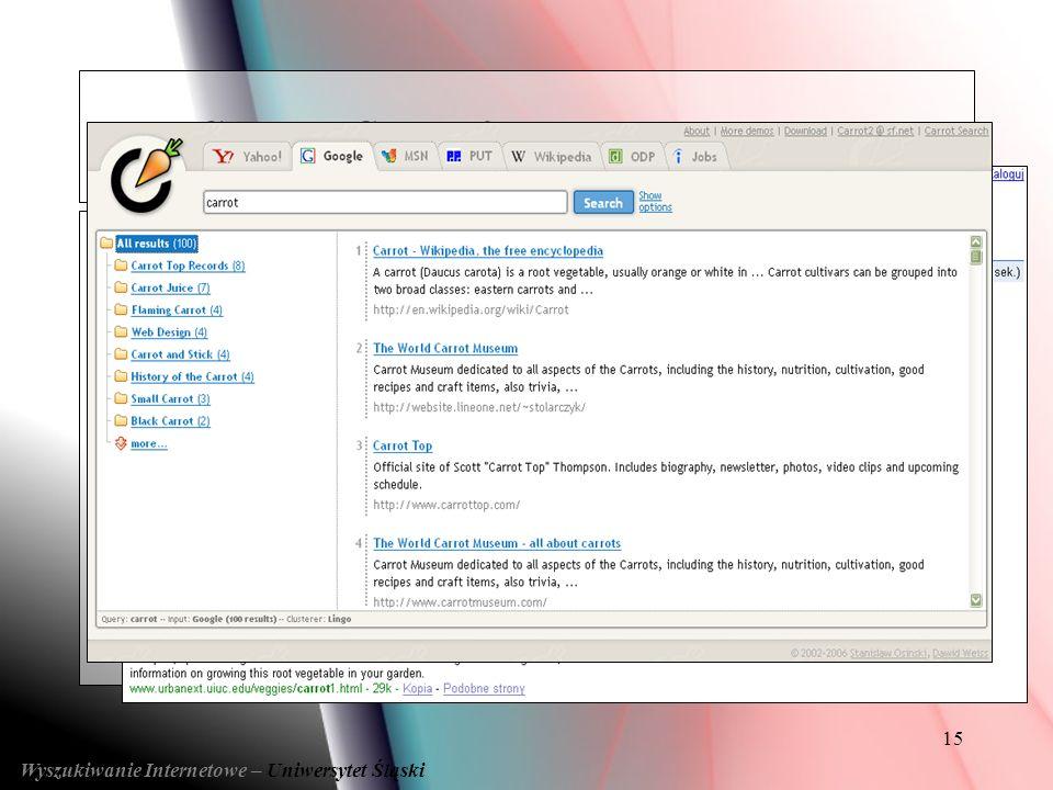 15 Wyszukiwanie Internetowe – Uniwersytet Śląski System Carrot2 System Carrot2 ( Podstawy )
